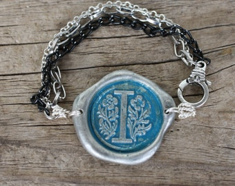 Wax Seal Bracelet in TURQUOISE patina, Custom Initial, FREE Shipping, Handmade by Okrrah