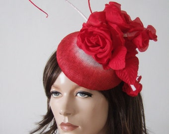 Red White Ombre Curled Quills Large Red Rose Kentucky Derby Button Hat Headpiece Fascinator MN170
