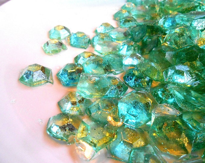Sea Water, Glass Candy Gems,  Varigated Aquas,  Real Champagne, Sea Glass, Ice Theme