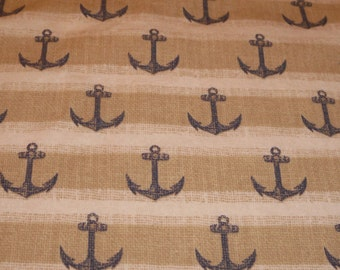 Nautical Anchors Baby toddler fitted sheet ocean tan
