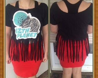 12th Planet handcrafted cut up fringed t-shirt