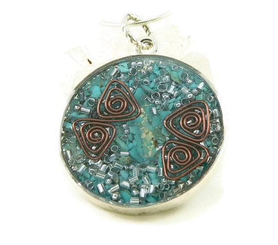 Orgone Energy Pendant - Double Sided Open Pendant in Silver with Turquoise - Quartz Crystal - Energy Jewelry - Artisan Jewelry