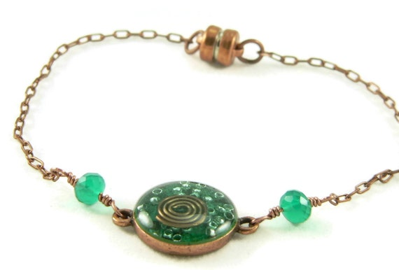 Orgone Energy Petite Stacking Bracelet in Antique Copper Circle with Malachite Gemstone - Delicate Bracelet - Orgone Energy Jewelry