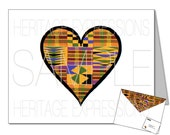 Printable Kente Heart Card & Matching Envelope Template - DIY Digital Download PDF Files - 8.5x11