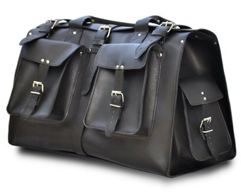 Large leather duffle bag / Travel bag / Sac voyage / Women/Men black leather weekender