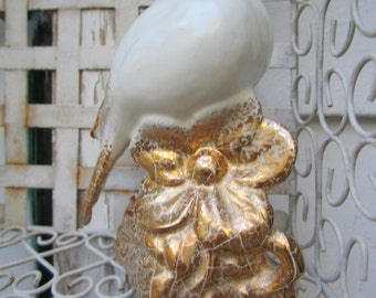 Ceramic Bird White and Gold Sweet sparrow perched on a flower Vintage Handmade