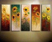 "Oversized Abstract Sunflower Painting.Palette Knife.Textured Sunflowers Painting.Home Decor.Large Artwork 36"" x 60"" Made to Order by Nata S."