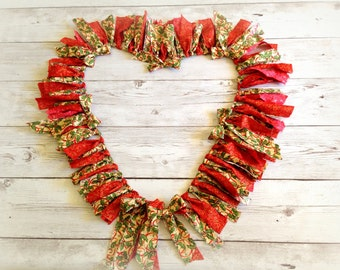 """Christmas Rag Garland Torn Fabric Holly Berries Red Green Holiday Banner  Mantel Garland Christmas Bannister Doorway Window Decoration  70"""""""