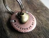 Copper Pet Memorial Key Chain - Memorial Key Chain - Brass Heart Charm - Copper - Aluminum Backer - Personalized Pet Memorial Gift