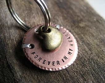 Copper Pet Memorial Key Chain - Memorial Key Chain - Brass Heart Charm - Copper - Aluminum Backer - Personalized Pet Memorial Gift