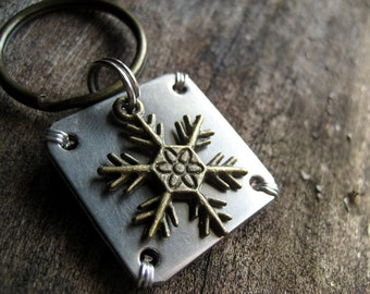 Unique Pet Id Tag - Pet Id Tag - Nickel Silver Pet Tag - Holiday Pet Id Tag - Snowflake Charm - Aluminum Backer