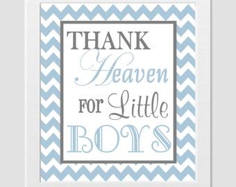 Thank Heaven For Little Boy Christian Art Boy Nursery Playroom Wall Decor Prayer