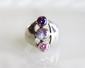Vintage Pink & Purple Triple Stone Sterling Silver Ring / Statement Ring / Size 6