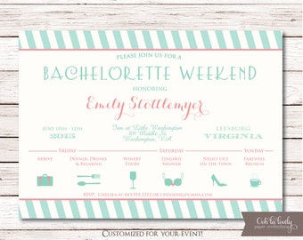 Bachelortte Party Invitation, Bachelorette Weekend Itinerary, Girls weekend, Birthday Weekend Invitation, DIY