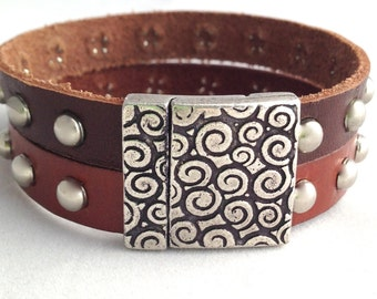 Wide Leather Cuff Bracelet - Studded Leather Jewelry - Leather Cuff Bracelet for Men - Leather Cuff Bracelet for Women