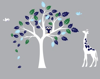 wall decals, tree decal, owl tree, giraffe, vinyl tree decal, nursery decals, baby nursery,