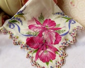 Vintage Hankie Beautiful Floral Scalloped Hankie Handkerchief Vintage Accessories Hankie
