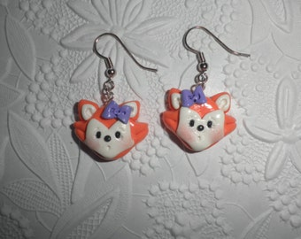Polymer Clay Fox Earrings/Charms (Pair)