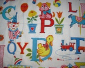 Vintage 50s 60s Childrens Alphabet Cotton Fabric Novelty Print Remnant 2.8 Yards