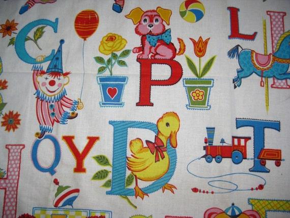 Vintage 50s 60s childrens alphabet cotton fabric novelty for Vintage childrens fabric prints