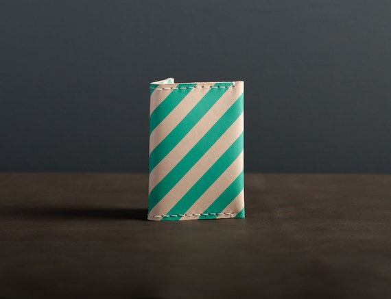 Leather Folded Card Case / Wallet - Teal