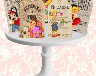 INSTANT DOWNLOAD, Valentine Gift Tags, Valentine Labels, Kids Valentine Cards, Printable, Vintage Valentine Gift Tags, Vintage Valentine Kid