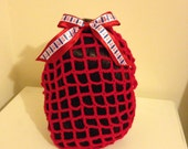 Red crochet snood with anchor bow