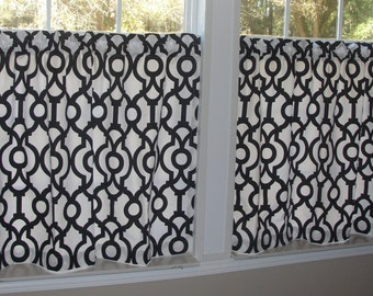 "Premier Prints Black and White Lyon Shadow Cafe Curtains 80"" wide x 30"" long"