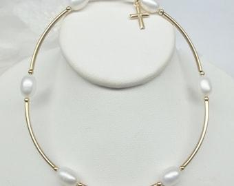 14k Gold Cross Bracelet 14k Gold Bracelet Gold White Pearl Bracelet 14k Gold Filled Bracelet Adjustable Bracelet BuyAny3+Get1 Free