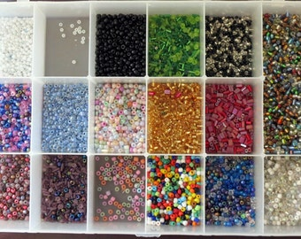 Mixed Beads, Destash Beads, 1 Plus Pounds of Beads, Colorful Plastic Beads in Container, Mish Mash of Beads,