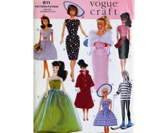 Fashion Doll, Doll Clothes Pattern, Retro Pattern, Vogue 611, 1:6 Scale