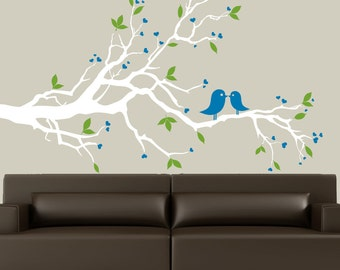 White tree branch wall decal with birds