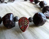 Garnet Organic Stone Nuggets, Rustic Leaves and Fossil Jasper Boho Tribal Necklace and Earrings