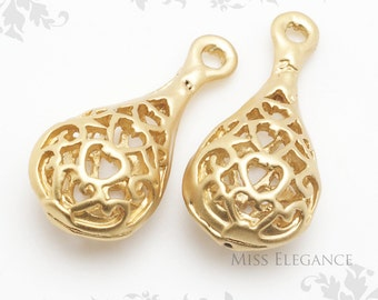 2pcs Matte Gold Plated Pendant Charm unique jewellery findings // 9mm x 19mm // 1166-MG