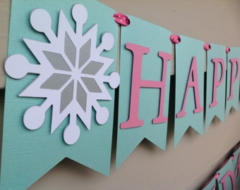 Winter ONEderland Winter Wonderland Happy Birthday Banner Aqua Pink and Silver