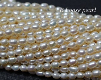 Natural White Rice Pearls Freshwater pearl Wheat pearl Loose Pearl 4.0mm 66pcs Full Strand Item No : PL6200