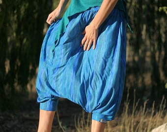 Women harem pants, Striped Blue sea stretchy skirt pants, Plus size Pregnancy Maternity Wear, Hippie Gypsy Boho Harem skirt pants