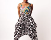 Black and White High Waisted African Print Bianca Pants