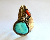 Vintage Turquoise and Coral Sterling Silver Squash Blossom Navajo Ring