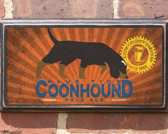 Blue Tick Coonhound Pale Ale Wall Art Sign Plaque Gift Present Home Decor Vintage Style Antiqued Coon Dog Pale Ale Beer Knoxville Vols