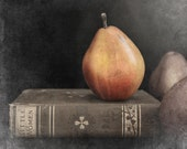 Fine art photography pear and old book photograph still home decor