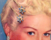 Floral Swarovski Blues and Brass Color Metal Hair Pins- Vintage and New Materials- Snow Queen Xmas Accessory