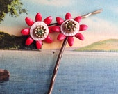 Floral Red and Brass Color Metal Hair Pins- Vintage and New Materials- Great Xmas Gift
