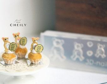 Dollhouse miniature mold- Cupcake decoration- Bear