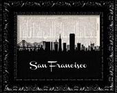 BOGO San Francisco California Skyline Map - Vintage Dictionary Print Vintage Book Print Page Art  Vintage Book Art