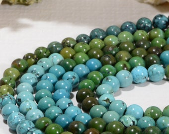 "African Turquoise 8mm 7 3/4"" Strand Natural Gemstone Beads Jewelry Making Supplies Turquoise Beads"