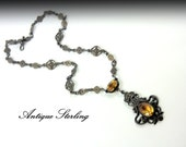 JEWELRY SALE -Brilliant Sterling Silver Filled Antique Czech Art Deco Citrine Necklace. Fine Jewelry. 10% OFF