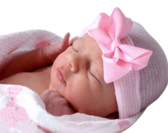 baby girl newborn hospital hat, pink and white striped newborn hospital hat with pink bow