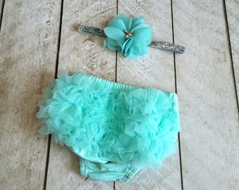 Baby Girl Ruffle Bottom Bloomer & Headband Set in Aqua - Newborn Photo Set - Infant Bloomers - Diaper Cover - Baby Gift - by Couture Flower