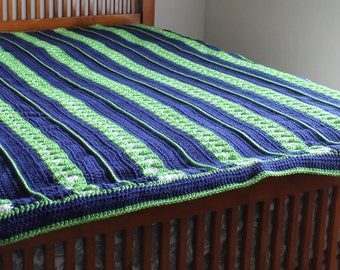 Afghan- Queen Size Crochet Blanket - Navy Blue, Spring Green, and White - Christmas in July SALE - 20 % off until July 31st